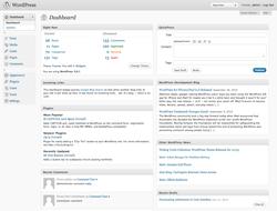 de startpagina van WordPress