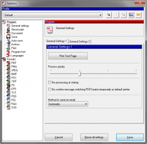 De interface van de PDF Creator software