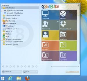 de start knop in Windows 8