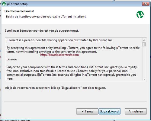 Ga je akkoord met de installatie van uTorrent en de voorwaarden van de software?