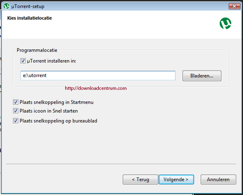 Vink aan waar je snelkoppelingen voor uTorrent wilt zien en waar het programma geinstalleerd moet worden.