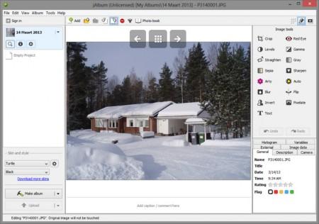 de interface van jAlbum om zelf een online fotoboek te maken