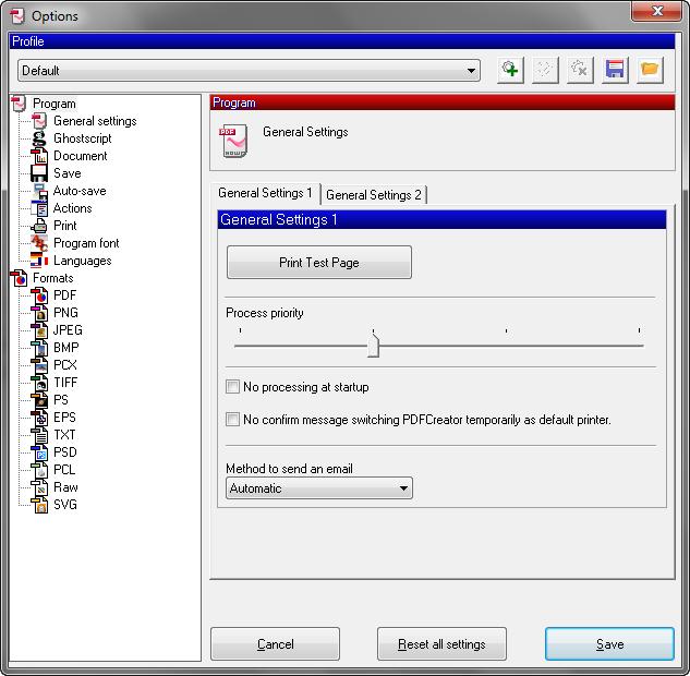 De interface van de PDF Creator software