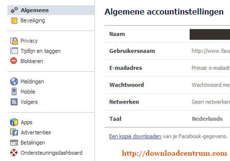 Surf naar je account-instellingen om een Facebook backup te maken.