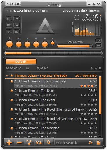 De interface van de AIMP mediaspeler is simpel en overzichtelijk.