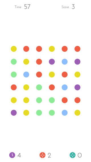 Het scherm van Dots op een iPhone.