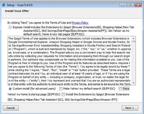 Klik op 'Custom Install' en vink dan alle toolbars en extensies uit.