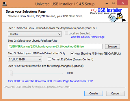 De interface van de Universal USB installer