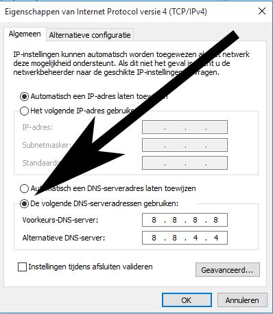 Ziggo DNS aanpassen om storing op te lossen.