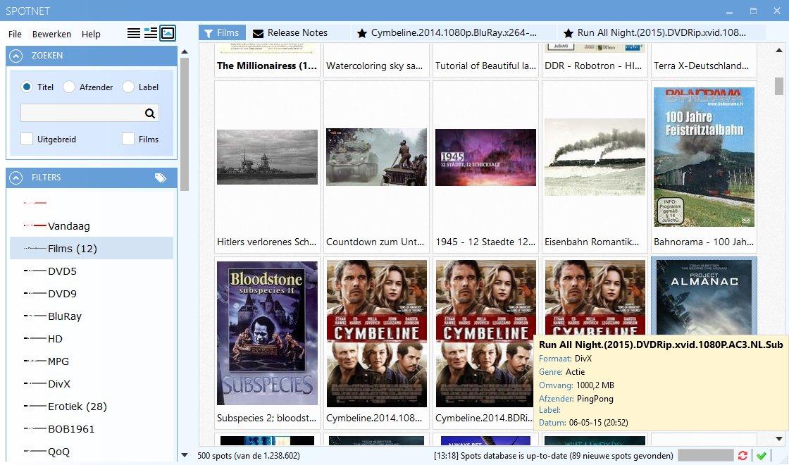 Een schermafbeelding van Spotnet 2.0