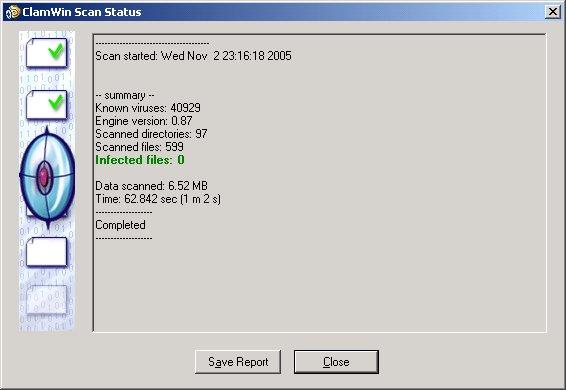 De interface van Clamwin doet ouderwets aan. Het programma biedt echter uitstekende bescherming tegen virussen.