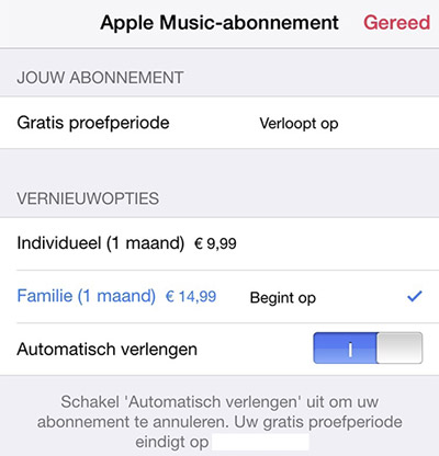 Apple Music opzeggen.