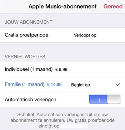 Apple Music opzeggen.