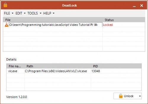 Deadlock geeft je een overzicht van alle mappen die beveiligd zijn door andere programma's. Hierdoor kun je ze makkelijk verwijderen.