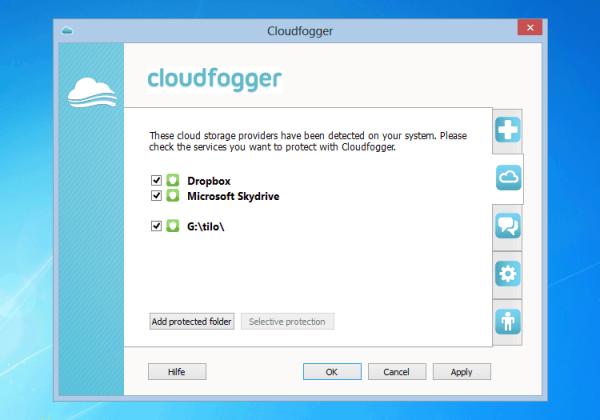 Cloudfogger ondersteunt een groot aantal cloud-aanbieders.