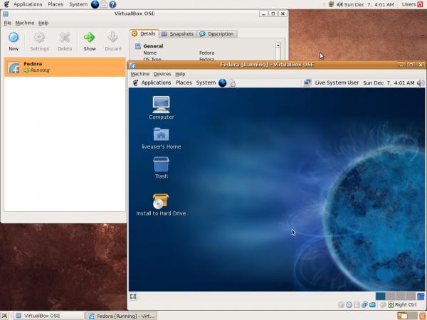Virtualbox aan het werk.