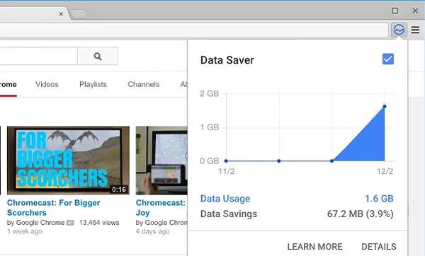 De databesparing-extensie werkt op desktop-versies van Chrome...