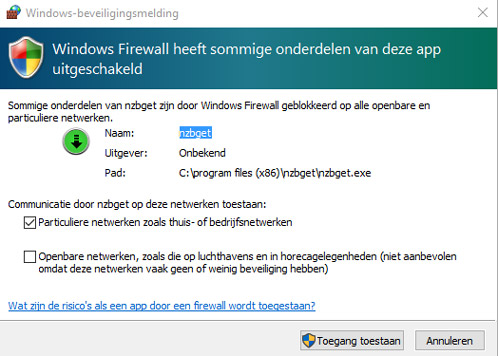 Windows vraagt of NZBGet door de firewall mag.