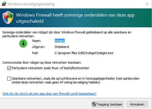Windows vraagt of NZBGet door de firewall mag.