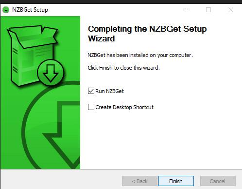 Zo, NZBGet is geinstalleerd. Druk op 'finish' om het programma op te starten.
