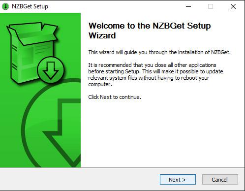 Welkom in de installatie voor NZBGet. Klik op 'next'.