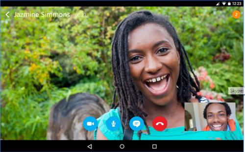 Skype werkt ook op Android smartphones en tablets.