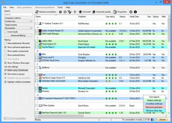 De Bulk Crap Uninstaller software wordt uitgebracht onder een freeware ...