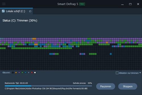 Het trimmen van een SSD gaat snel, defragmenteren duurt wat langer.