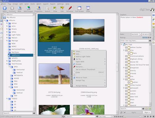 Een schermafbeelding van DigiKam.