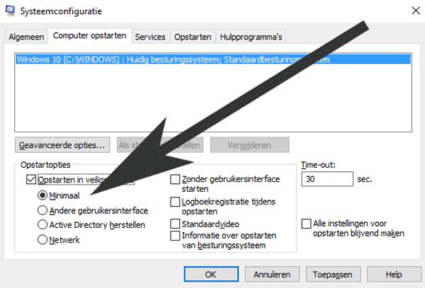 Kies in MSconfig voor de optie 'Minimaal' onder het tabblad 'Computer opstarten'.