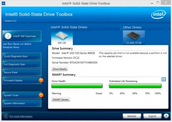 Met de SSD Toolbox van Intel kun je een aantal zaken van je SSD in de gaten houden.