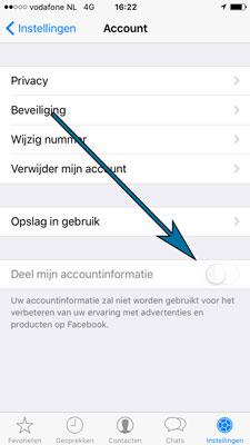 Vink in het account scherm van Whatsapp de optie tot het delen van je gegevens met Facebook uit.