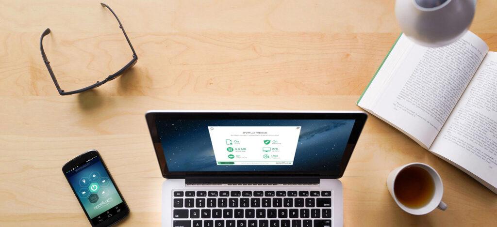 Met Spotflux kun je op verschillende devices anoniem surfen en downloaden.