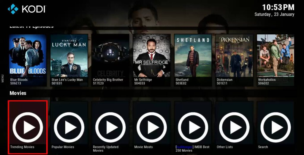 Netflix op Kodi.