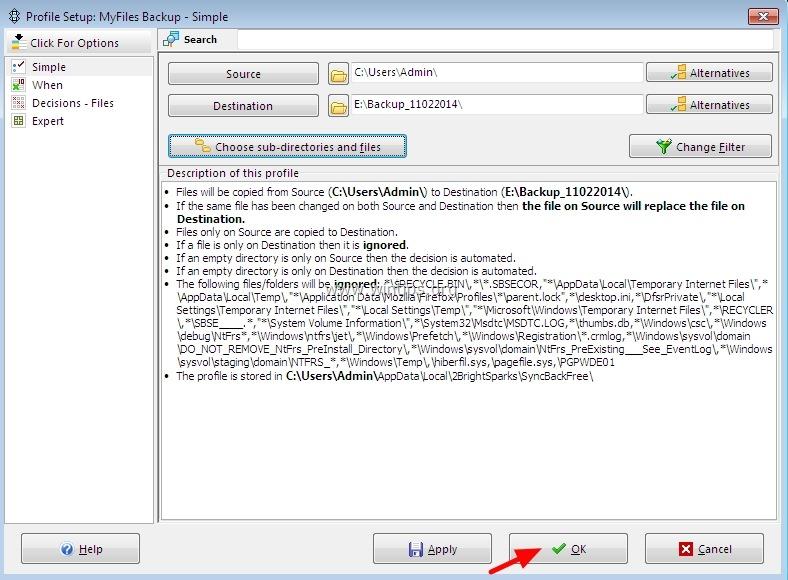 SyncBackFree kent een aantal opties voor het opslaan en uitvoeren van een backup.