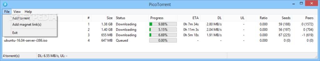 De interface van Picotorrent