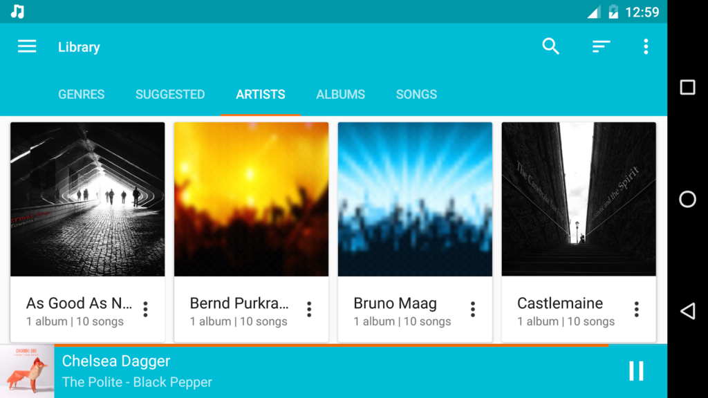 De interface van Shuttle Music is duidelijk en overzichtelijk.
