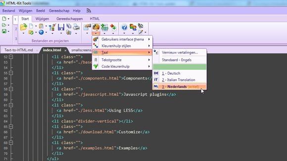 HTML-Kit is ook beschikbaar in het Nederlands.