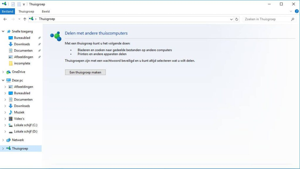 Een Windows 10 Thuisgroep aanmaken.