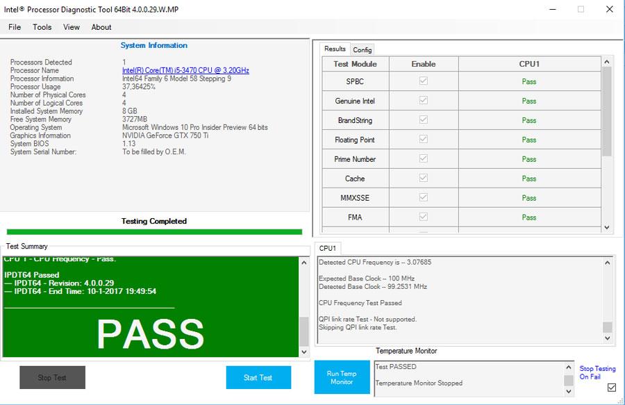 Na het testen geeft de tool een compleet beeld van je processor.