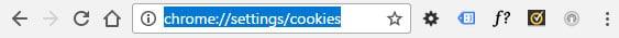 De URL voor het verwijderen van cookies in Chrome.