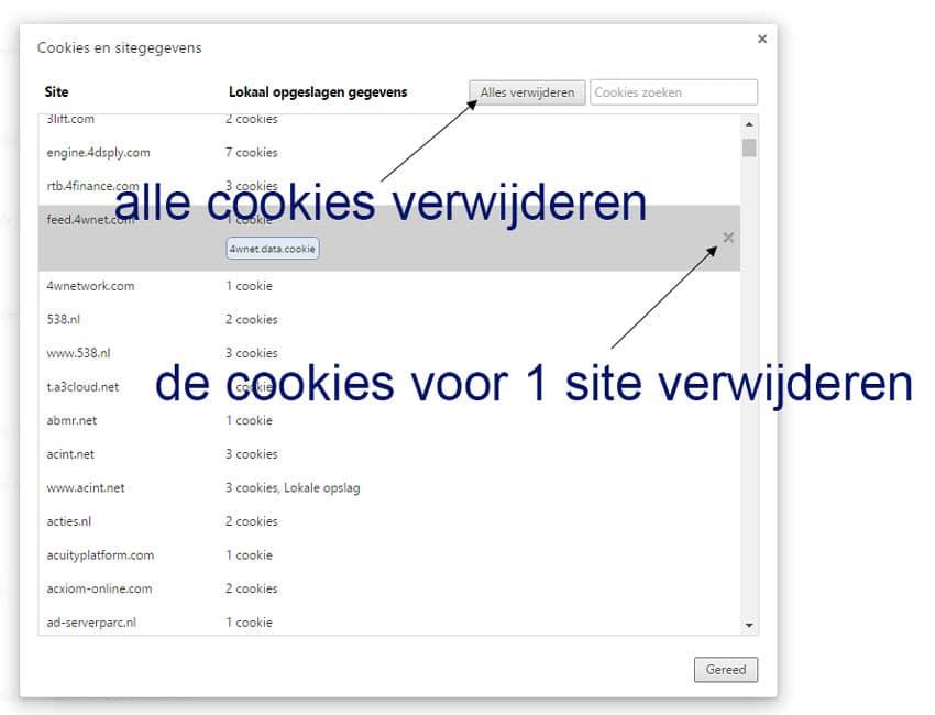 Alle cookies verwijderen of de cookies voor 1 website weghalen.