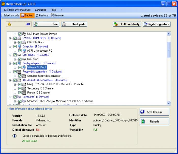 DriverBackup maakt een backup van alle drivers op een Windows 10 computer of laptop.