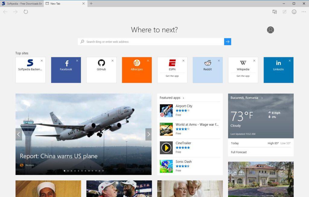Microsoft Edge is voorzien van het minimalistische design dat Microsoft nastreeft in Windows 10.