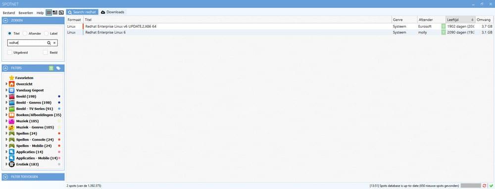 Downloads zoeken met Spotnet via de zoekfunctie of het menu.
