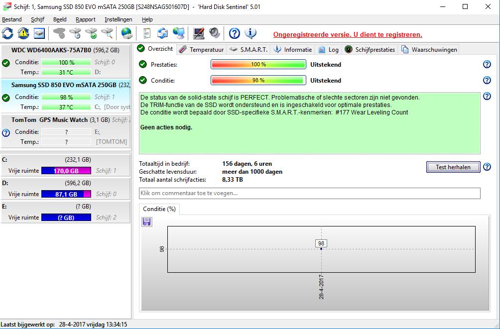 Hard Disk Sentinel checkt automatisch de status van je harde schijven.