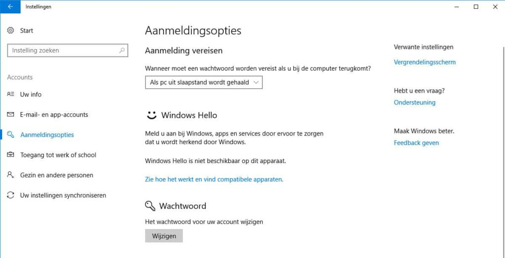 'Aanmeldopties' in Windows 10.