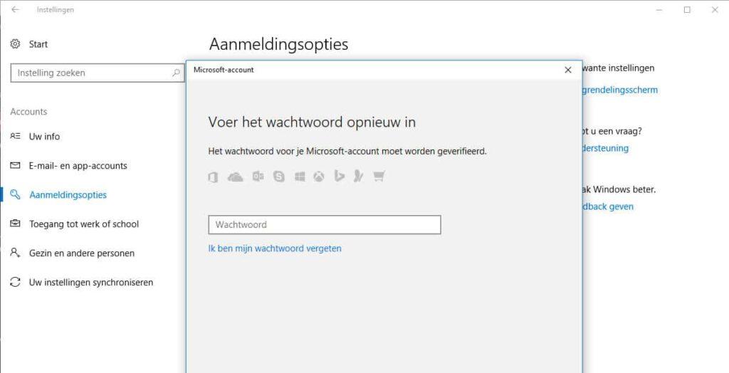 #3 - in dit scherm kun je een nieuw Windows 10 wachtwoord instellen.