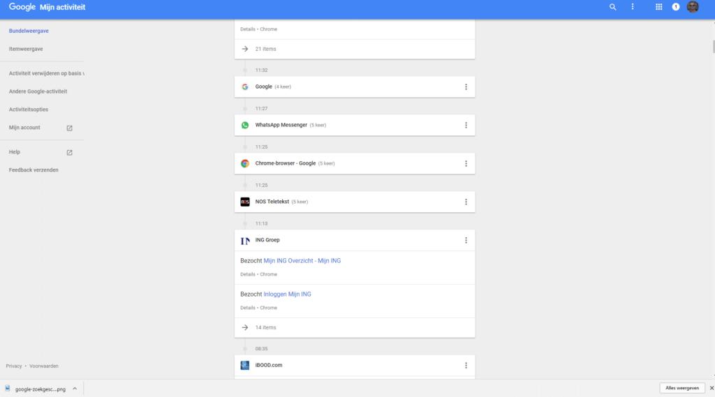 Op de 'Mijn activiteit' pagina kun je je Google zoekgeschiedenis wissen.