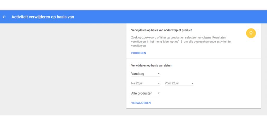 Je zoekgeschiedenis wissen op basis van datum of inhoud.